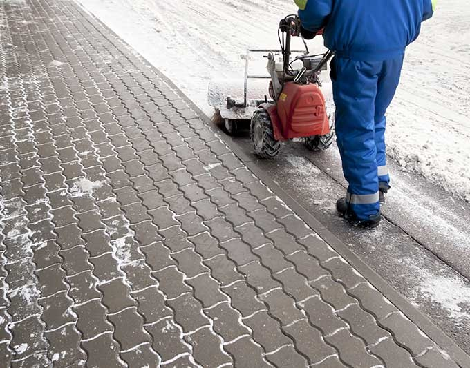 Stone Paving Clear of Snow